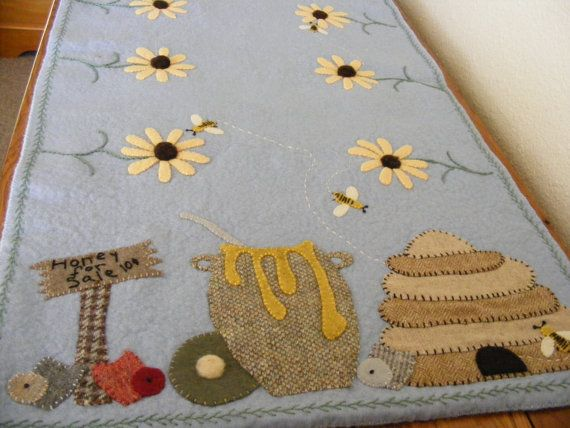 Honey For Sale  A Wool Felt Table Runner by WoolSnippetsandSuch, $8.50