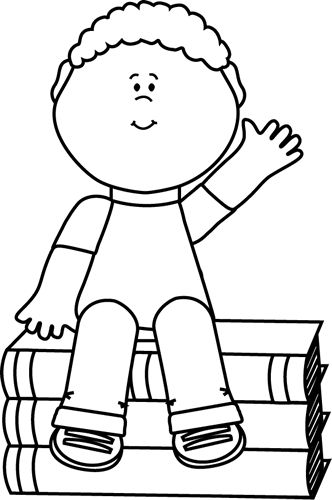 Black and White Boy Sitting on Books and Waving Clip Art - Black and White Boy Sitting on Books and Waving Image