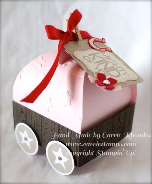 Curvy Keepsake Box as a Covered Wagon. Click over to blog post to see how to make this box. www.carriestamps.com