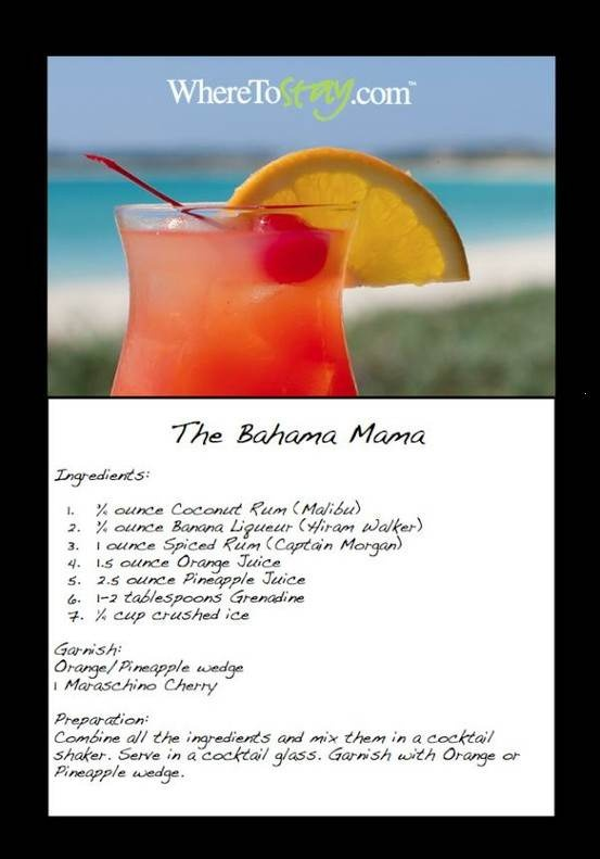 I'm gonna be drinkin aloth of these in Jamaica!!!....the bahama mama is a blend of sweet rums and fruity goodness that will give you that little taste of the islands right at home!
