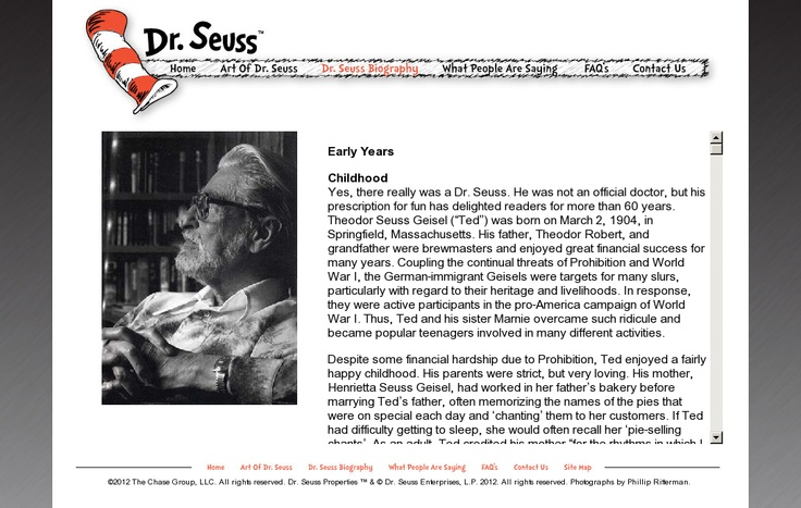 Dr. Seuss Biography, The Art of Dr. Seuss Website ~ pin snapped on Snapito!