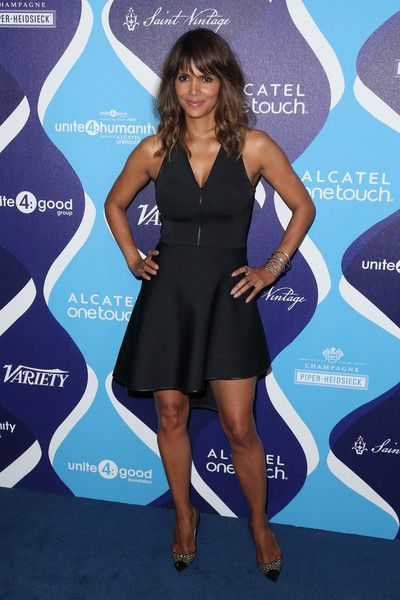Halle Berry Studded Heels - Halle Berry styled her dress with an edgy-glam pair of studded cap-toe pumps.