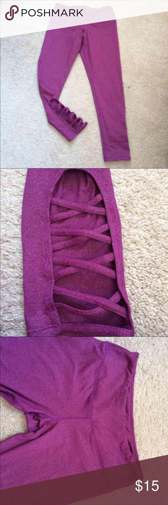 Workout Capri Heathered purple workout Capri with crisscross cut out at the bottom. Pants Capris