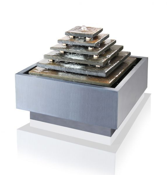 6 Stage Aztec Pyramid Water Feature Fountain Cascade Grey Slate Contemporary