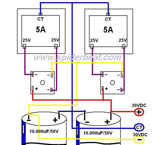 Skema Cara Menggabungkan 2 Trafo Untuk Keperluan 1 Power Amplifier