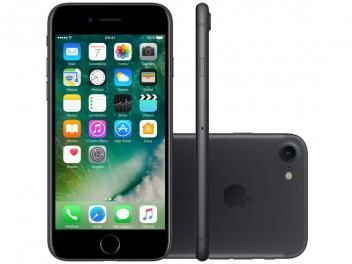 "Confira no #MagazineBrasilcompleto:  iPhone 7 Apple 128GB Preto Matte 4G 4,7"" Retina - Câm. 12MP + Selfie 7MP iOS 10 Proc. Chip A10"