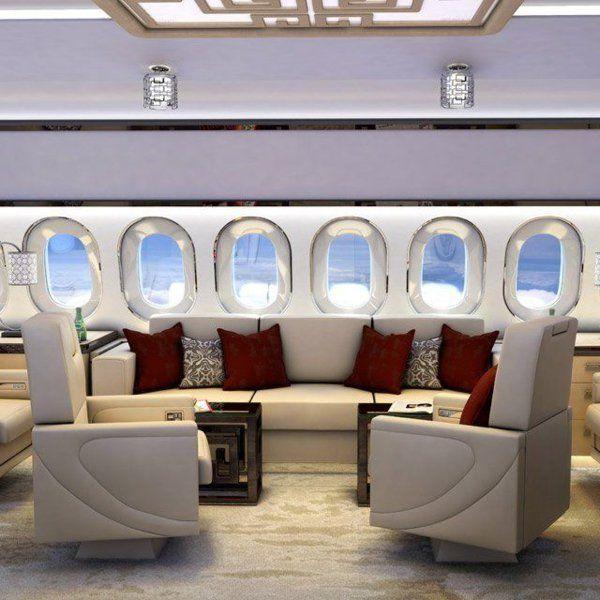 votre jet privé avec une belle vue, salon avec table et canapé en cuir