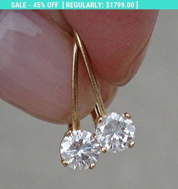 1 2 Carat Diamond Earrings Solitaire Leverback Drop 14k Etsy Diamond Earrings Design Solitaire Earrings Beautiful Jewelry