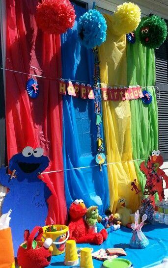 sesame street backdrop + plastic table cloths