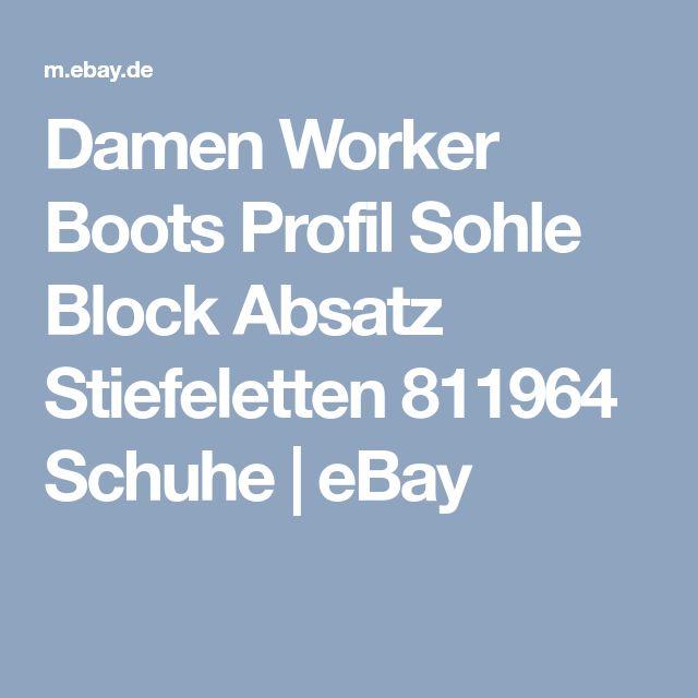 Damen Worker Boots Profil Sohle Block Absatz Stiefeletten 811964 Schuhe | eBay