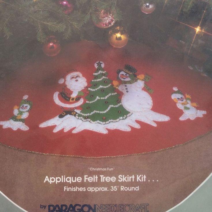 Christmas Fun Jeweled Felt Applique Tree Skirt Kit Paragon Santa Snowmen 1985 #Paragon