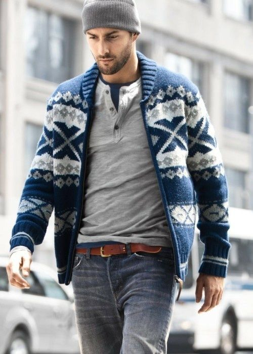 Shop this look for $147:  http://lookastic.com/men/looks/zip-sweater-and-henley-shirt-and-crew-neck-t-shirt-and-belt-and-jeans-and-beanie/1538  — Navy Fair Isle Zip Sweater  — Grey Henley Shirt  — Navy Crew-neck T-shirt  — Brown Leather Belt  — Grey Jeans  — Grey Beanie