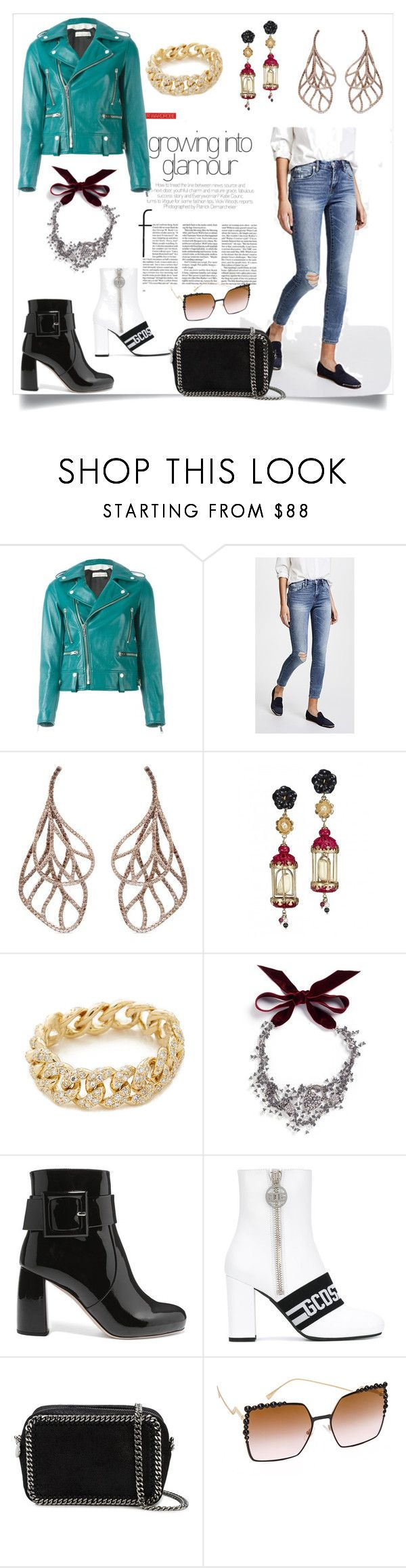 """fashion Garrage"" by kate-winslet-143 ❤ liked on Polyvore featuring Golden Goose, Blank Denim, Anyallerie, Of Rare Origin, Shay, Lulu Frost, Miu Miu, GCDS, STELLA McCARTNEY and Fendi"