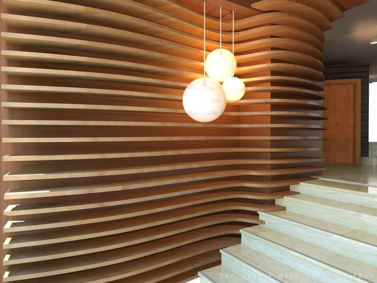 Arrondir les angles via un bardage bois horizontales et des suspensions aux formes organiques_Hall d'immeuble Paris IIIème | Christophe NANNINI