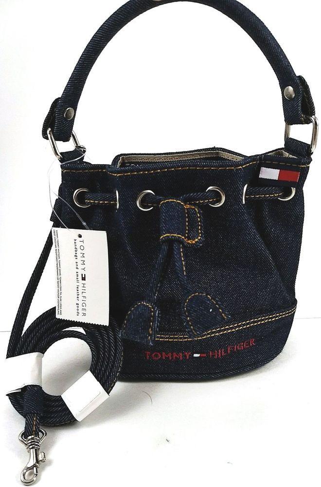da35186160 New TOMMY HILFIGER Denim Drawstring Bucket Purse Crossbody Mini Bag Flag  Logo #TOMMYHILFIGER #Denim