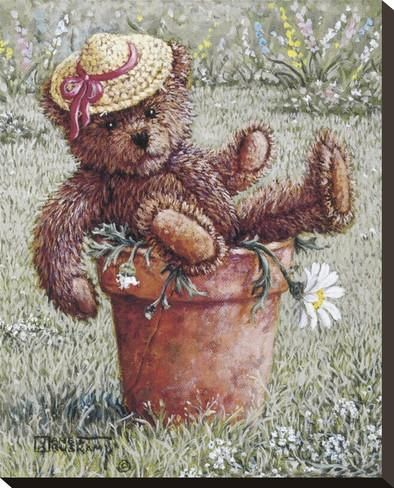 Bear With A Hat Reproducción de lámina sobre lienzo por Janet Kruskamp en AllPosters.es