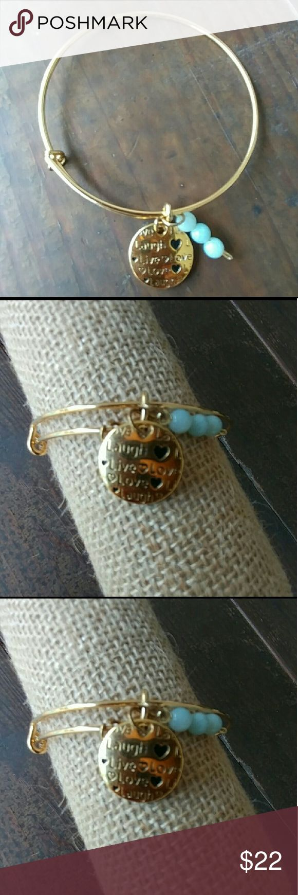 Dainty jewelry 18k gold plated bangle and charm Authentic aquamarine stones Live Laugh Love???????? Jewelry Bracelets
