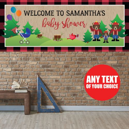 Canadian Lumberjack Baby Shower PERSONALIZED Giant Banner Party Supplies Canada - Open A Party