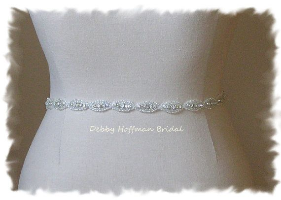 Sale ~ Bridal Sash, Wedding Dress Belt, Beaded Rhinestone Crystal Sash, Wedding Belt, No. 4070S-18, Rhinestone Sash, Belt, Bridesmaid Sash on Etsy, $35.00