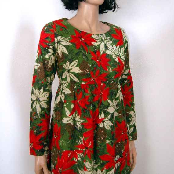 60s christmas dress vintage poinsetta dress empire cotton dress m