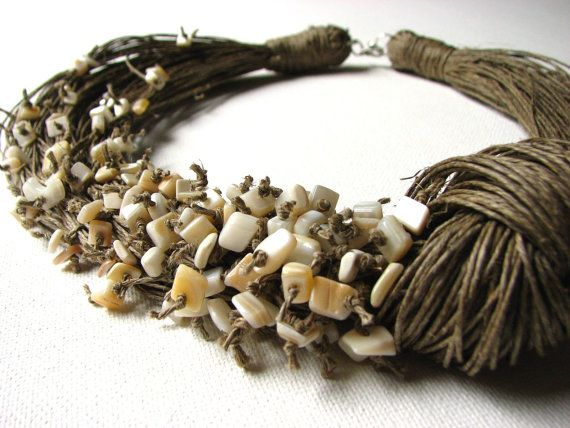 NatURal nAcrE BIG linen necklace by GreyHeartOfStone on Etsy, $48.00
