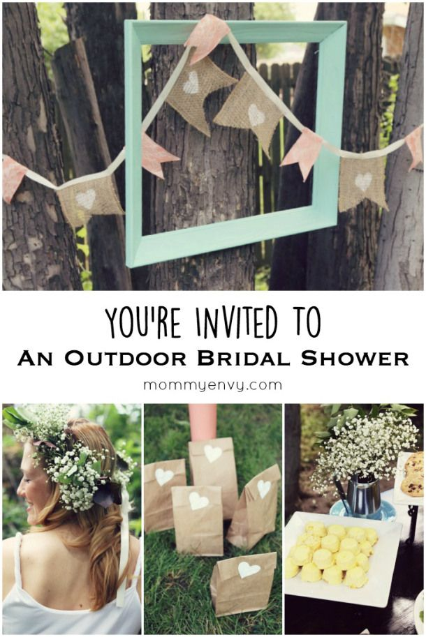 It's wedding season! Get ready because you're invited to this Mint and Coral Outdoor Bridal Shower. Cute banners and decoration ideas for an outdoor bridal shower. Found on mommyenvy.com