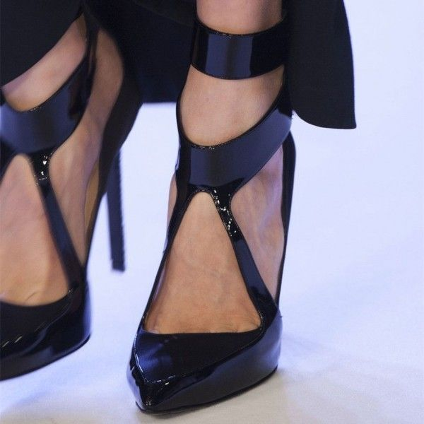 c67584f08726 Black Patent Leather Pointy Toe Stiletto Heels Office Shoes for Women for  Big day
