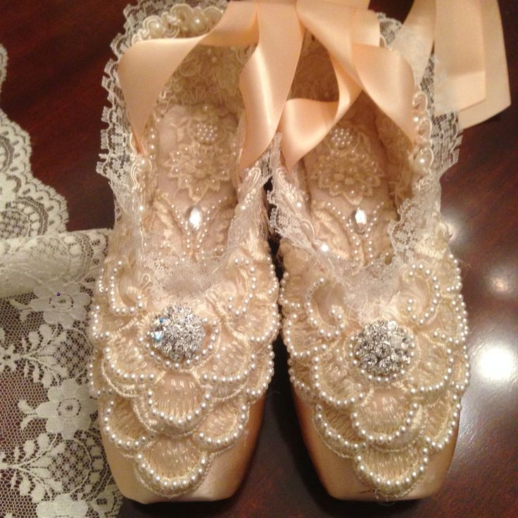 Altered pointe ballet shoes.