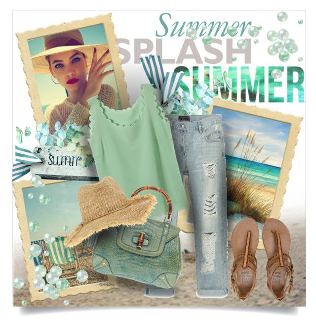 """Make A Summer Splash"" by stylesbyjoey ❤ liked on Polyvore featuring Zara, Gucci, Billabong and Flora Bella"