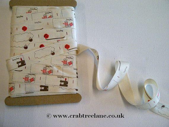 Sewing Label Printed Ribbon  20mm  Per Metre  Cream Printed
