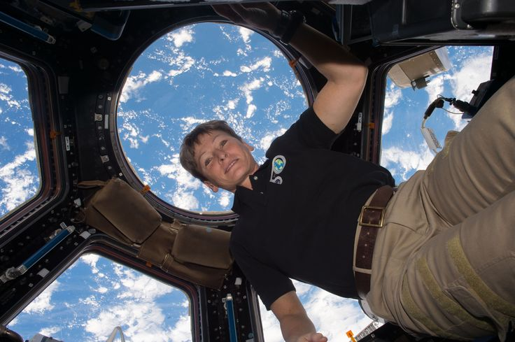 NASA Astronaut Peggy Whitson Sets Spaceflight Record 534 days 2 hours 49 minutes and counting. NASA astronaut Peggy Whitson flew through the standing record for cumulative time spent in space by a U.S. astronaut at 1:27 a.m. EDT on April 24 2017 and with the recent extension of her stay at the International Space Station she has five months to rack up a new one.