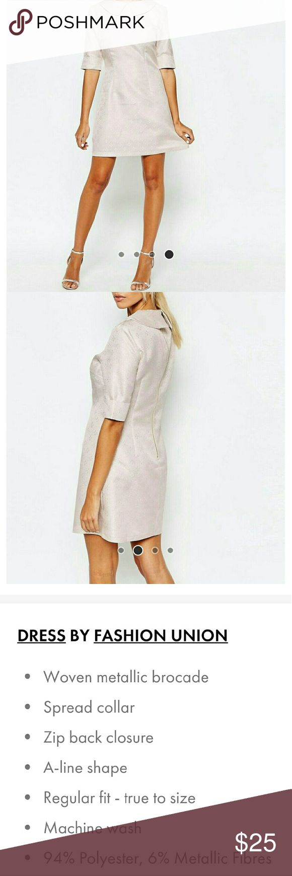 Brocade Aline Collar Dress NWT. UK 12/US 8. Fabric is sparkly in person. This size is sold out. ASOS Dresses