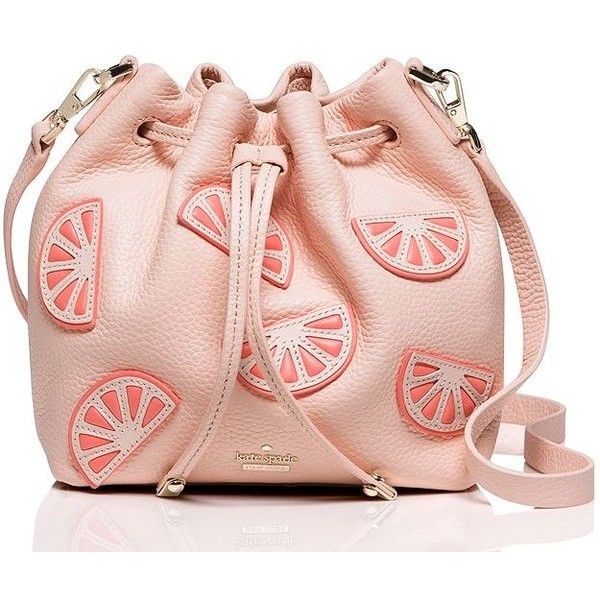 Kate Spade Flights Of Fancy Grapefruit Mini Bucket Bag ($298) ❤ liked on Polyvore featuring bags, handbags, shoulder bags, cross body, leather cross body purse, crossbody purse, leather shoulder bag, leather bucket bag and kate spade purses