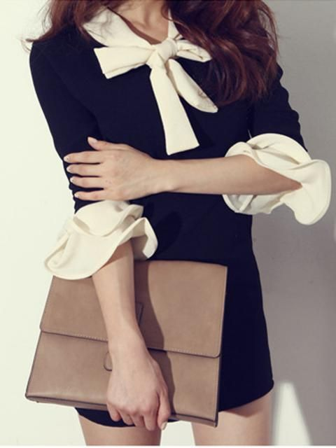 Bow Tie Shirt With Ruffle Cuff | Choies  cid=5255jessica