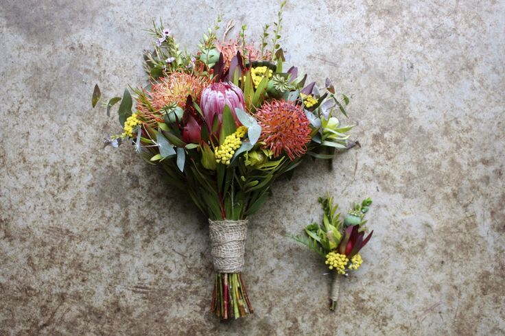 native summer bouquet - his and hers wedding flowers with proteas, pincushions, leucadendron, eucalyptus, poppy pods