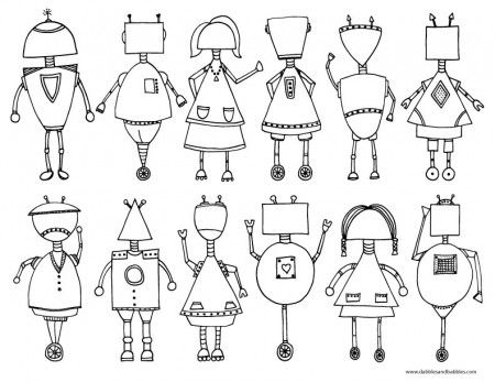 Printable Robot Coloring Page - from Dabbles & Babbles (These would be cute…