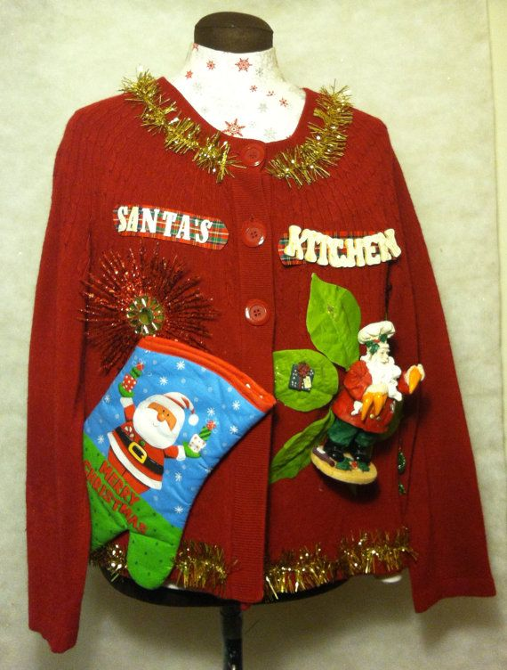 Cheap Ugly Christmas Sweater XL Santa 's Kitchen by stealofadeal, $25.00