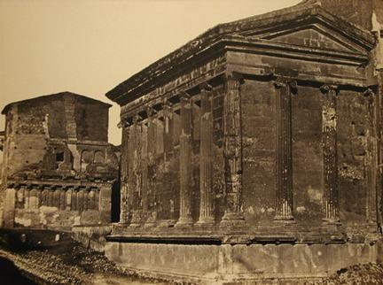 Temple of Fortuna Virilius and the House of Rienzi 1868 (ca) Albumen print from Collodian Negative 12 x 15 3/4