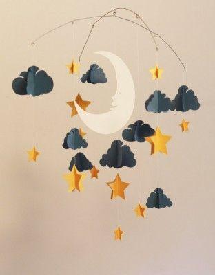 movil de noche luna y estrellas de cartulina