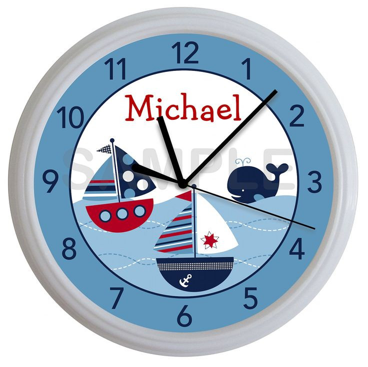 Nautical Sailboat Whale Personalized Nursery Wall Clock