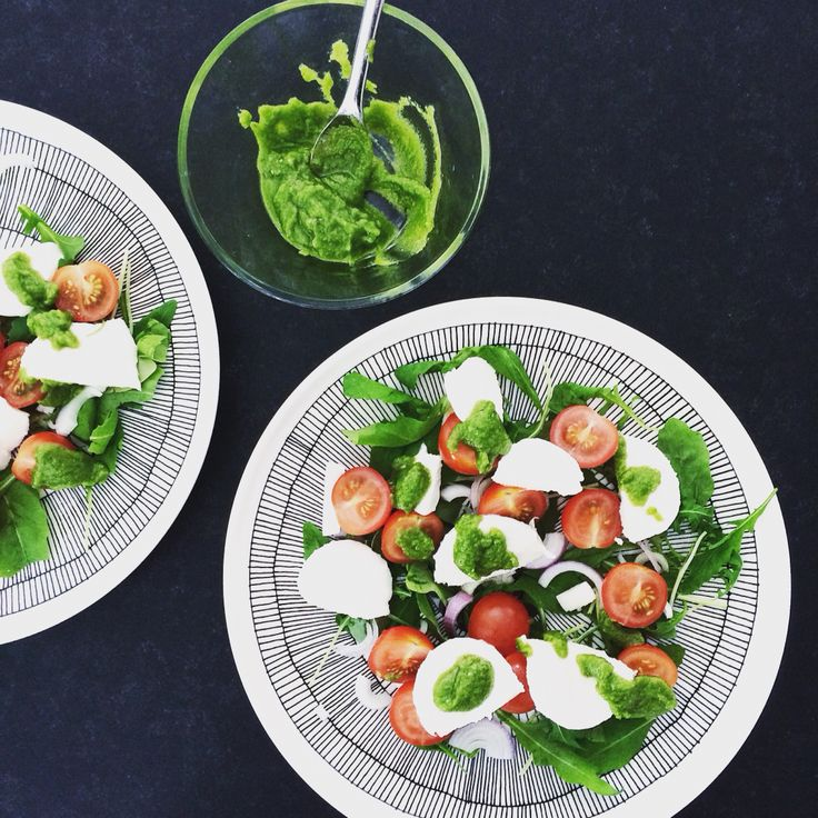 Mozzarellasalad with homemade pesto. Healthy and green food.