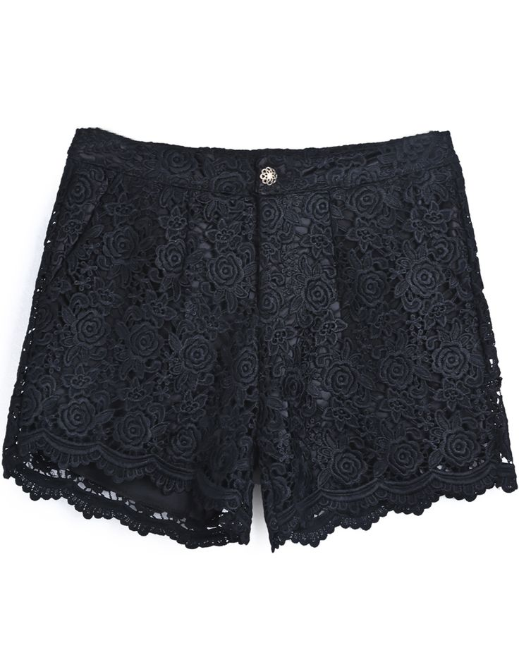 Shorts recto encaje bordado-negro EUR€23.39