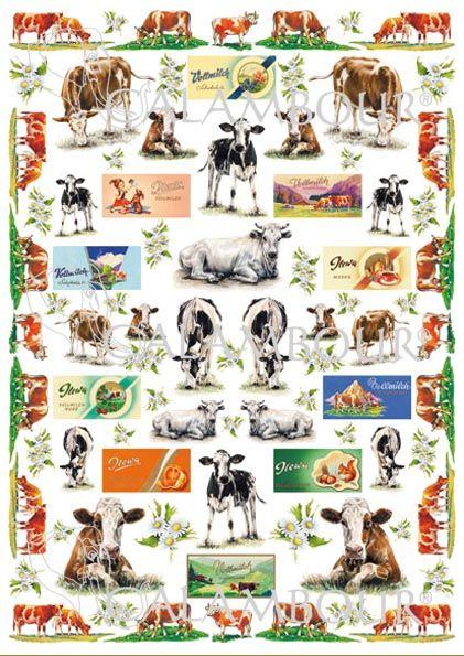 CAL 286 - Calambour Paper for classic Decoupage. Pattern : vaches marron et blanches, noires et blanches, marguerites, sur fond blanc et avec bordure vaches. Details: measures 50 x 70 cm, printing on 80 gr/mq paper sheet