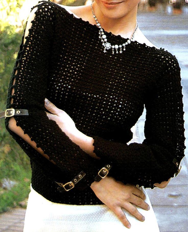 Jersey de crochet. This is great looking crochet sweater. Pattern looks simple