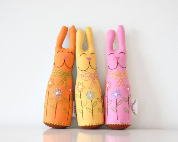 Easter Bunny Plush Orange Easter Basket Gift by TheFoxintheAttic, £18.00