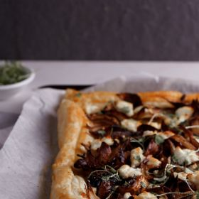 Roasted shallot tart with goat's cheese