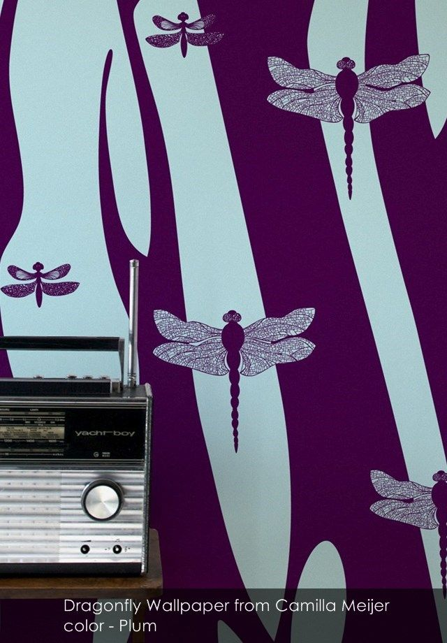 Dragonfly Wallpaper from Camilla Meijer in Plum
