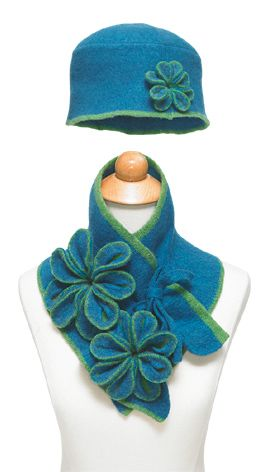 SUPER CUTE!! But, I'm pretty sure I could figure out how to make this (even wasting a few trials) for less than $175!!  My colours!!! Made in Ireland - Felted Hat & Collar Scarf