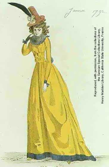"French revoulutionary fashion plate: January 1792 - Caraco de satin jaune. Il est ""en rideau"", c'est-a-dire fronce pardevant (jacket of yellow satin. It is ""en rideau"", meaning gathered in front)"