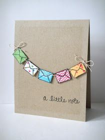 A little note - handmade card. Use little envelopes and real notes inside.